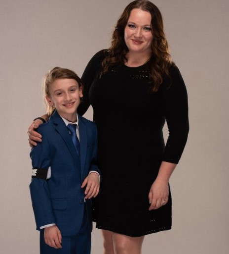 Amanda Huber with her son