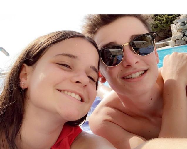 Noah Schnapp with his sister