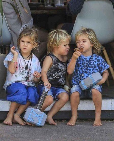 Tristan Hemsworth with his siblings India Rose and Sasha Hemsworth